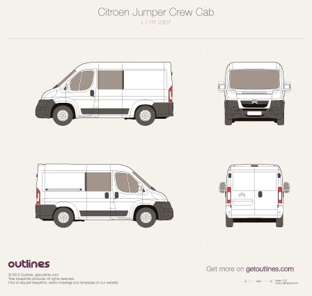 2007 Citroen Jumper Crew Cab L1 H1 Van blueprint