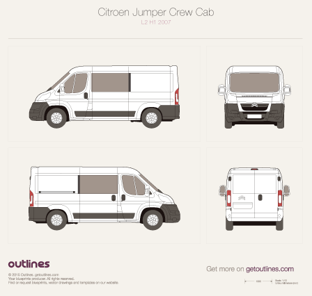 2007 Citroen Jumper Crew Cab L2 H1 Wagon blueprint