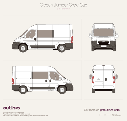 2007 Citroen Jumper Crew Cab Wagon blueprints and drawings