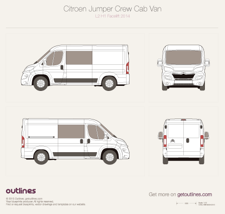 2014 Citroen Relay Crew Cab L2 H1 Facelift Wagon blueprint