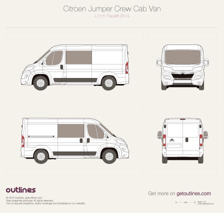 2014 Citroen Jumper Crew Cab L2 H1 Facelift Wagon blueprint