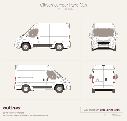 2014 Citroen Jumper Panel Van Van blueprints and drawings
