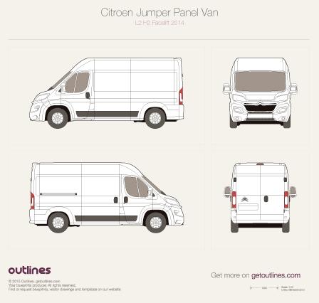 2014 Citroen Jumper Panel Van L2 H2 Facelift Van blueprint