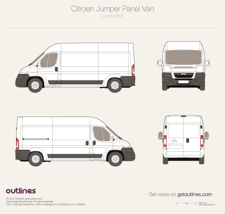 2007 Citroen Jumper Panel Van L3 H2 Van blueprint