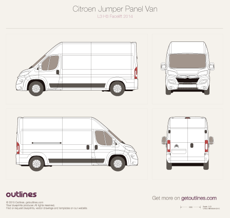 2014 Citroen Relay Panel Van L3 H3 Facelift Van blueprint