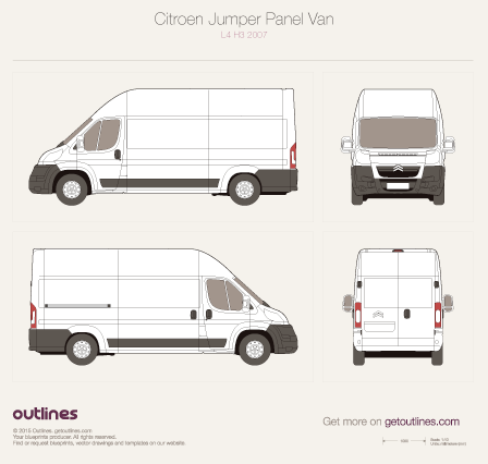 2007 - 2010 Citroen Jumper Panel Van L4 H3 Van drawings