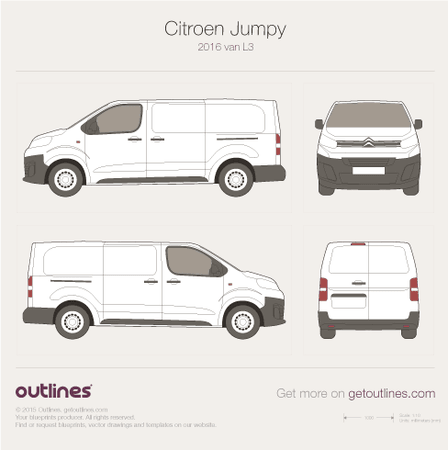 2016 Citroen Jumpy Mk III Van blueprints and drawings
