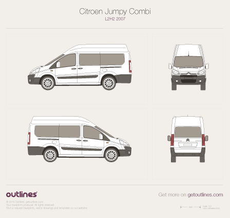 2007 Citroen Dispatch Combi L2 H2 Minivan blueprint