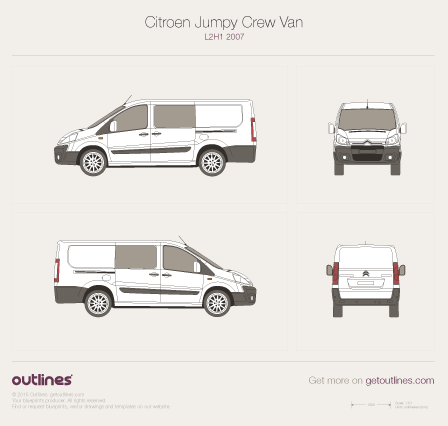 2007 Citroen Dispatch Crew Van L2 H1 Van blueprint