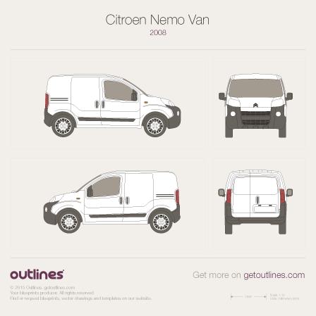 2008 Citroen Nemo Van Microvan blueprint