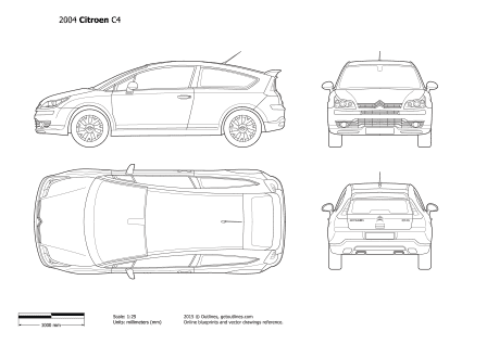 2004 Citroen C4 3-door Hatchback blueprint