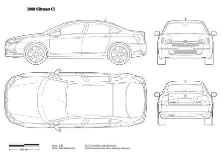 2007 Citroen C5 II Sedan blueprint