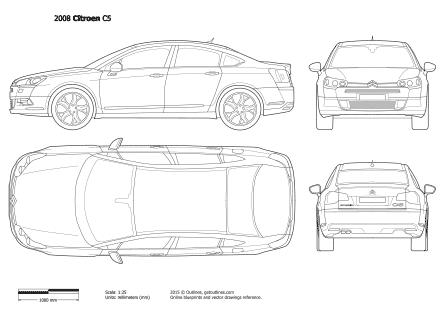2007 Citroen C5 II Sedan blueprints and drawings