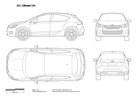 2012 Citroen Ds4 Drawings Outlines
