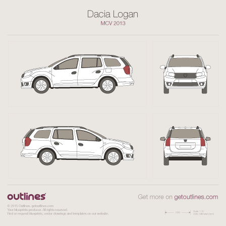 2014 Dacia Logan MCV Mk II Minivan blueprints and drawings