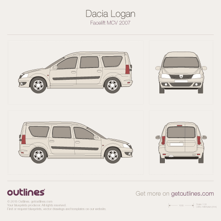 2007 Dacia Logan MCV Microvan blueprints and drawings