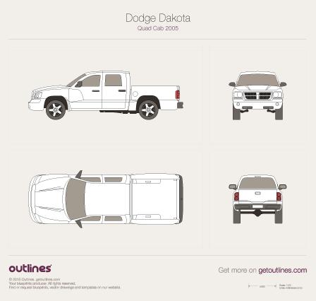 2004 Dodge Dakota Mk III Quad Cab Pickup Truck blueprint