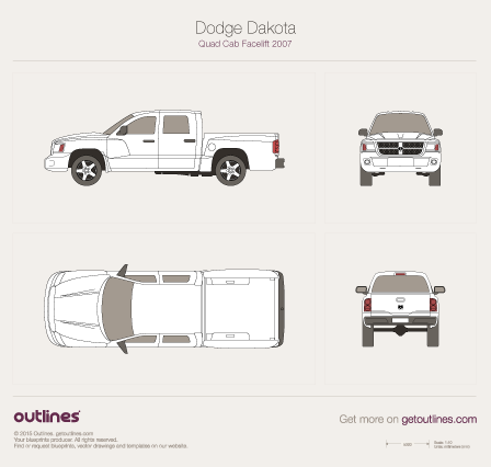 2007 Dodge Dakota Mk III Quad Cab Facelift Pickup Truck blueprint