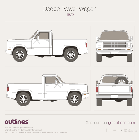 1979 Dodge Power Wagon Pickup Truck blueprints and drawings