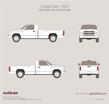 2006 Dodge Ram 1500 DR/DH Regular Cab Long Bed Facelift Pickup Truck blueprint