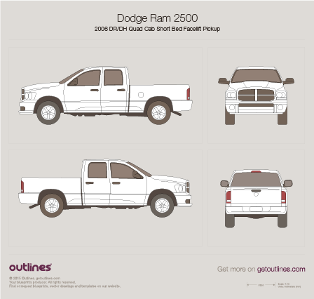 2006 Dodge Ram 2500 DR/DH Quad Cab Short Bed Facelift Pickup Truck blueprint