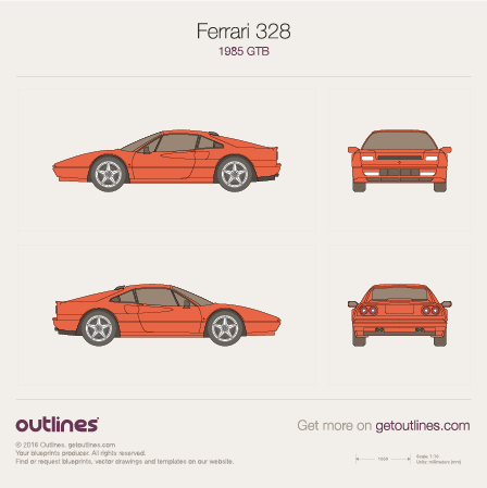 1985 Ferrari 328 GTB Coupe blueprints and drawings
