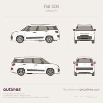 2007 Fiat 500L Living 5-door 7-seater Minivan blueprint