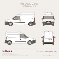 2009 Fiat Doblo Cargo LWB Maxi XL High Roof Van blueprint