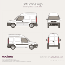 2005 Fiat Doblo Cargo SWB High Roof Facelift Van blueprint