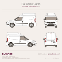 2015 Fiat Doblo Cargo SWB High Roof Facelift Van blueprint