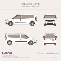 2015 Fiat Doblo Combi Maxi LWB XL Facelift Wagon blueprint