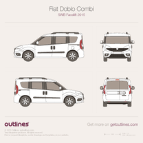 2015 Fiat Doblo Panorama SWB Facelift Minivan blueprint