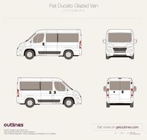 2015 Fiat Ducato Glazed Van Combi L1 H1 Facelift Wagon blueprint
