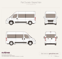 2014 Fiat Ducato Glazed Van L2 H2 Facelift Wagon blueprint