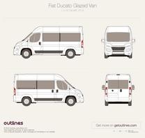 2014 Fiat Ducato Glazed Van L2 H2 Facelift Wagon blueprint