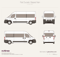 2007 Fiat Ducato Glazed Van L3 H2 Wagon blueprint