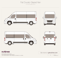 2014 Fiat Ducato Glazed Van L3 H2 Facelift Wagon blueprint