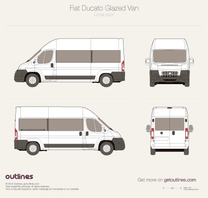 2007 Fiat Ducato Glazed Van L3 H3 Wagon blueprint