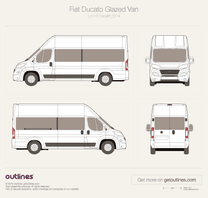2014 Fiat Ducato Glazed Van L4 H3 XL Facelift Wagon blueprint