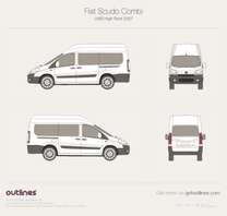 2007 Fiat Scudo Combi LWB High Roof Maxi Wagon blueprint