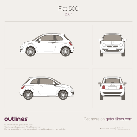 2007 Fiat 500 New / Nuova 500 Hatchback blueprint