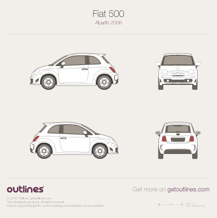2007 Fiat 500 Abarth Hatchback blueprint