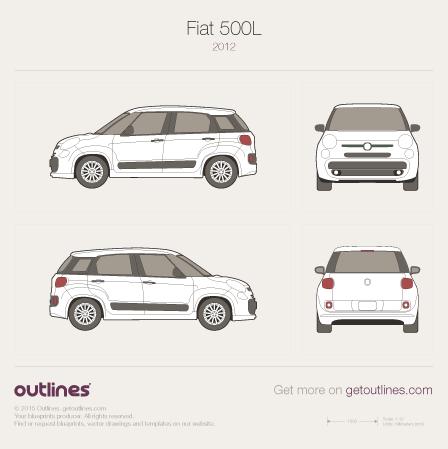 2007 Fiat 500L Hatchback blueprints and drawings