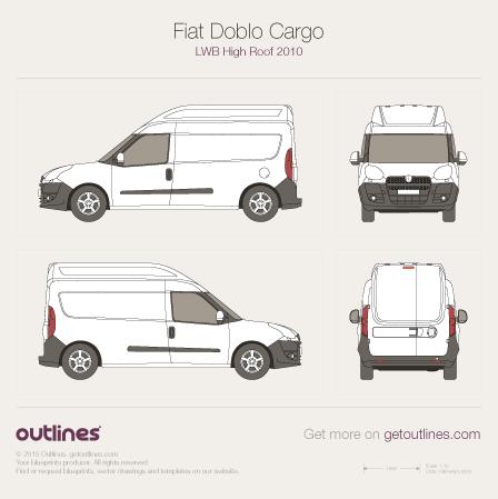 2009 Fiat Doblo Cargo LWB Maxi XL High Roof Van blueprint