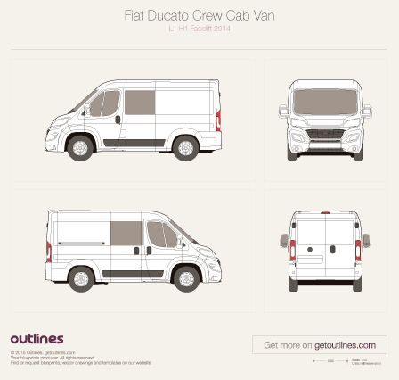 2015 Fiat Ducato Crew Cab L1 H1 Facelift Van blueprint