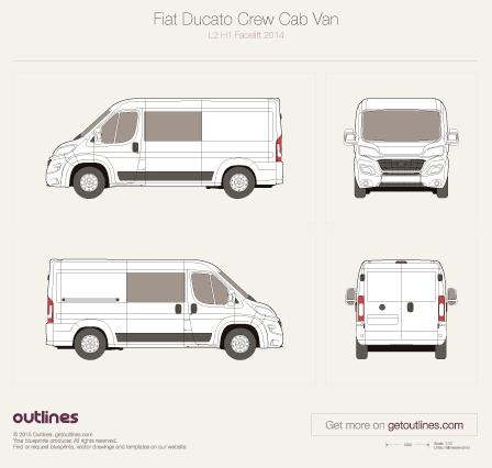 2015 Fiat Ducato Crew Cab L2 H1 Facelift Van blueprint