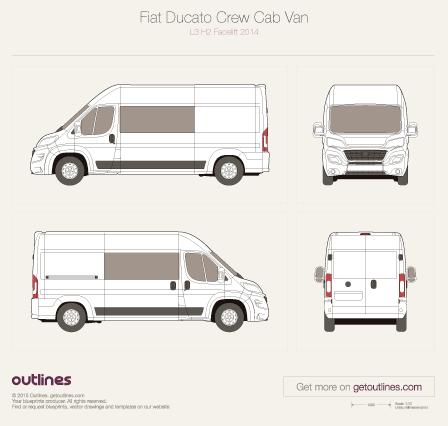 2015 Fiat Ducato Crew Cab L3 H2 Facelift Van blueprint
