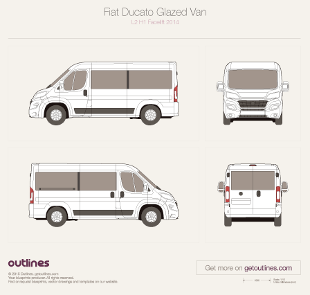 2014 Fiat Ducato Glazed Van L2 H1 Facelift Wagon blueprint
