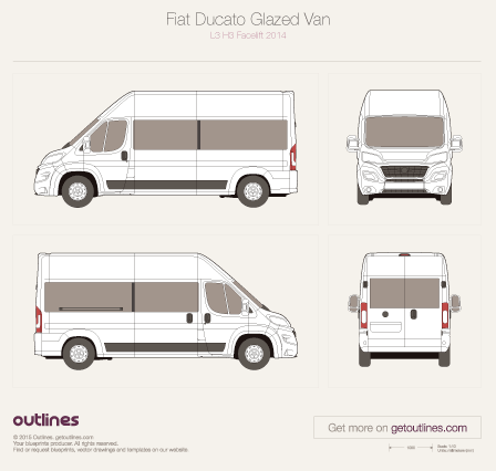 2014 Fiat Ducato Glazed Van L3 H3 Facelift Wagon blueprint