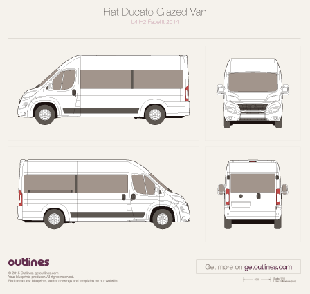 2014 Fiat Ducato Glazed Van L4 H2 XL Facelift Wagon blueprint